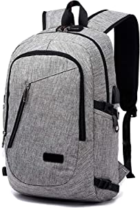 FLYMEI Laptop Backpack, Waterproof Grey Backpack with USB Charging Port