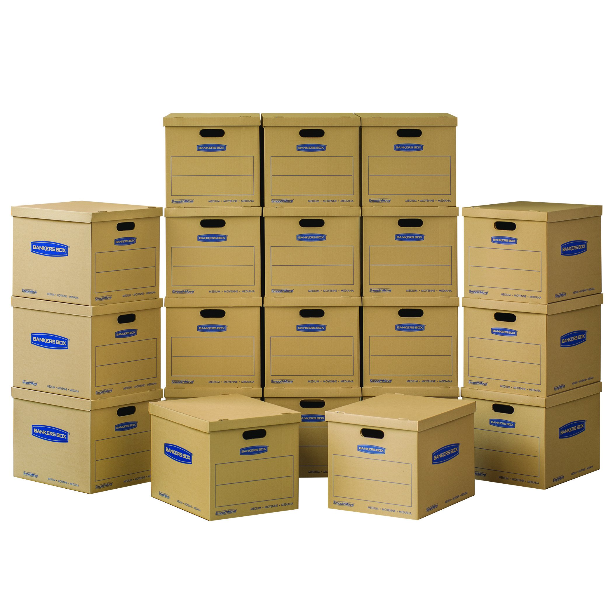 Bankers Box SmoothMove Classic Moving Boxes, Tape-Free Assembly, Easy Carry Handles, Medium, 18 x 15 x 14 inches, 10 Pack (7717205)