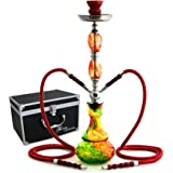 """GSTAR 22"""" 2 Hose Hookah Complete Set with Optional Carrying Case - Swirl Glass Vase - (Rasta Red w/ Case)"""