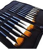 MozArt Supplies Set Pennelli Pittura Acquerello - 15 Pennelli per Dipingere Sintetici Assortiti - Include Custodia Porta Pennelli - Pennelli per Pittori di Alta qualità