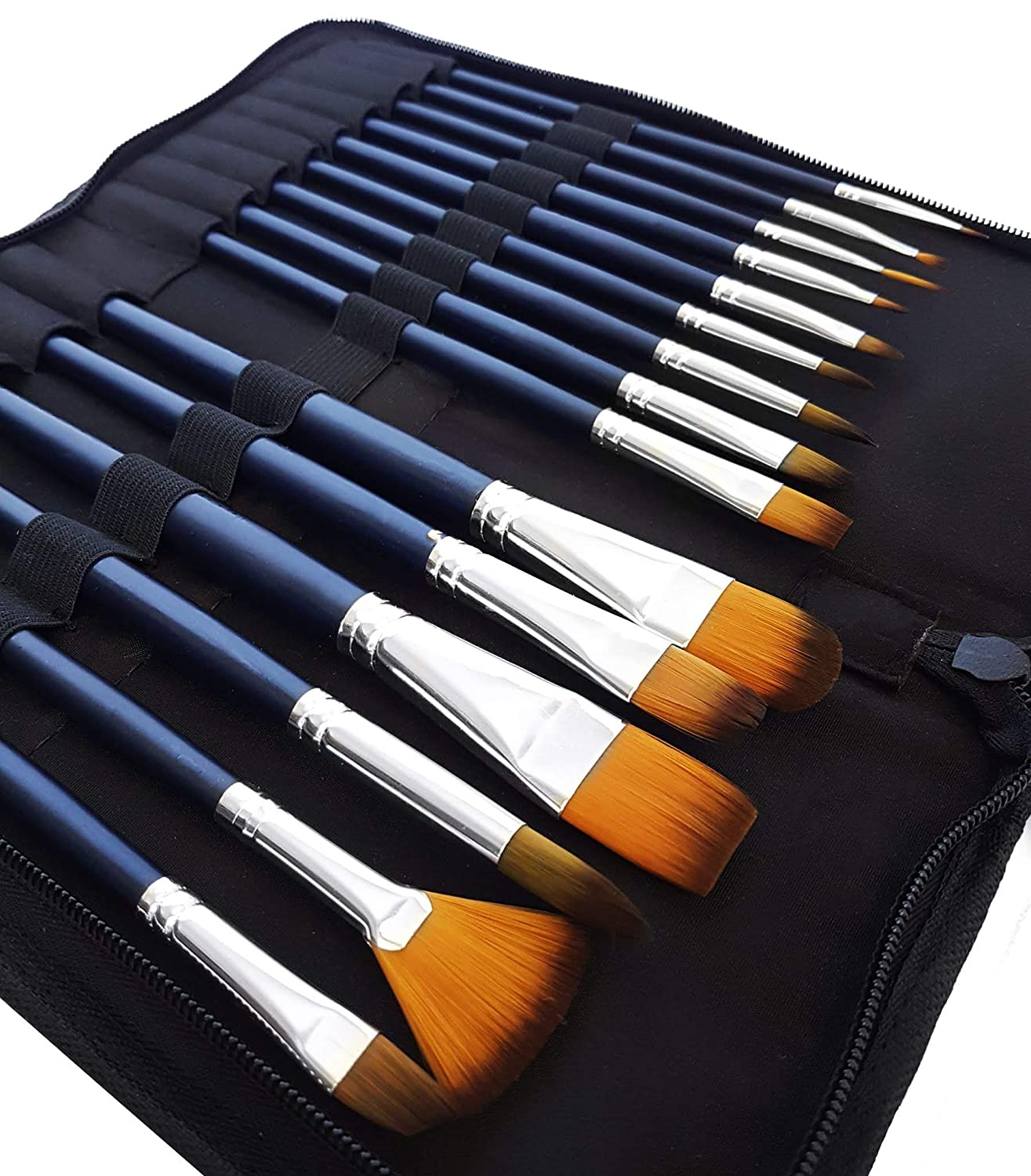 MozArt Supplies Watercolour Paint Brush Set - 15 Assorted Synthetic Hair Paint Brushes - Includes Portable Case with Brush Stand - High-Quality Artist Grade