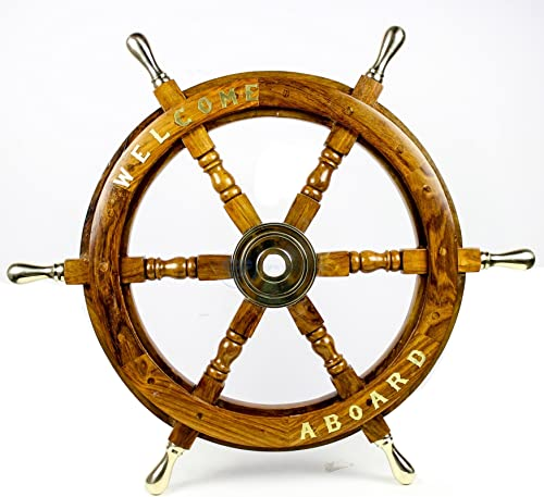 Nagina International Welcome Aboard Embedded Premium Handcrafted Nautical Pirate s Wall Decor Ship Wheel 48 Inches, Brass Handle