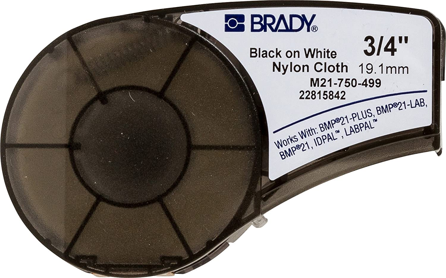 "Brady High Adhesion Cloth Label Tape (M21-750-499) - Black On White Nylon - Compatible with BMP21-PLUS, ID PAL, and LABPAL Printers - 16' Length, 0.75"" Width"