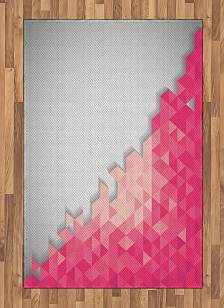 Amazoncom Ambesonne Pink And Grey Area Rug Abstract Geometric