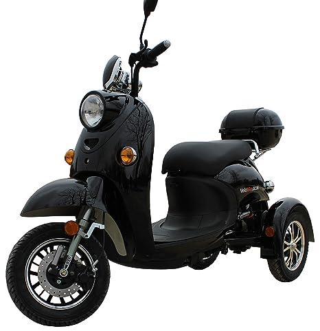 Elegante Retro Scooter Electrico 3 ruedas adulto Movilidad Reducida Minusválido para Mayores Vespa Recreativo 650W 25 km/h NEGRO