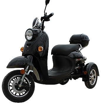 Elegante Retro Scooter Electrico 3 ruedas adulto Movilidad Reducida Minusválido para Mayores Vespa Recreativo 650W 25