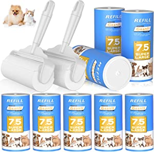 Geanli Large Lint Rollers Pro for Pet Cat Hair Extra Sticky丨Reusable Giant Furniture Lint Roller Dog Hair Remover丨6.3'' Wider with 6 Refills丨Lint Toller for Clothes, Couch, Carpet, Car Seat