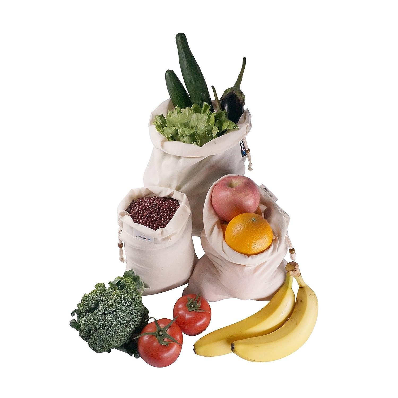 ViViBags Organic Cotton Muslin Produce BagSet of 6 (2 each of L/M/S) by ViViMonkey B01HFBA77M