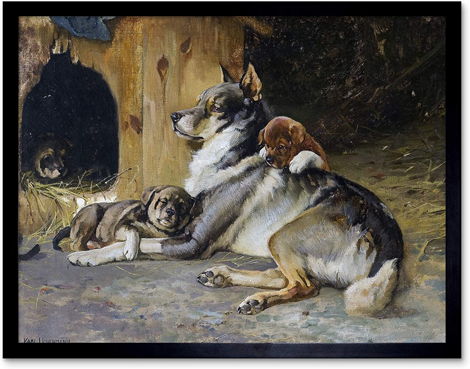 Uchermann Elkhound With Puppies Dog Painting Art Print Framed 12x16