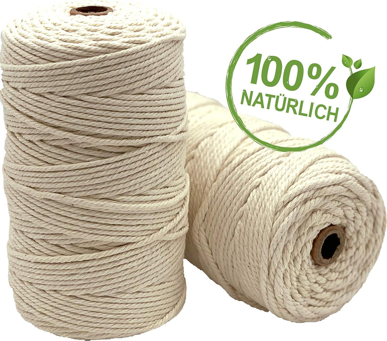 Hilo de macramé Brandtegy VOYAL – 100% hilo de algodón natural – 3 ...