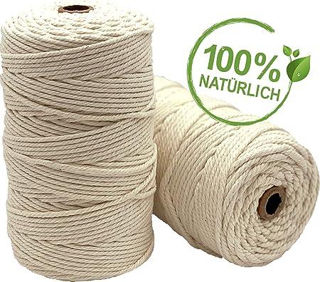 Hilo de macramé Brandtegy VOYAL – 100% hilo de algodón natural – 3 mm x 200 m – Cordón de algodón, hilo de algodón, atrapasueños, manualidades, sin química, hilo textil, Macrame...: Amazon.es: Hogar