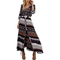 Sheshow Women's Bohemian Button Up Split Print Tie-Waist Beach Boho Maxi Dress