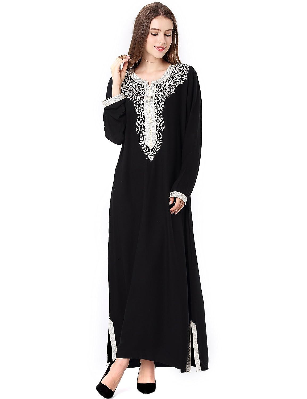 8976fa5cde Amazon.com  Muslim Dress Dubai Kaftan Women Long Sleeve Arabic Long Dress  Abaya Islamic Clothing Girls Jalabiya Caftan  Clothing