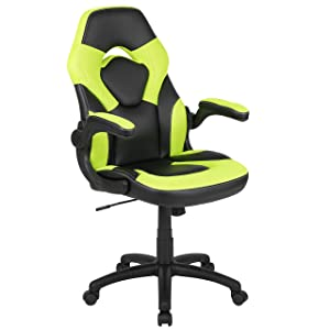 Flash Furniture X10 Gaming Chair Racing Office Ergonomic Computer PC Adjustable Swivel Chair with Flip-up Arms, Neon Green/Black LeatherSoft