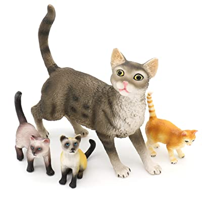 TMORU Cat Figurines, Hand Painted Animals Toy Set, Cake Topper Christmas Birthday Gift for Kids, Set of 4: Toys & Games