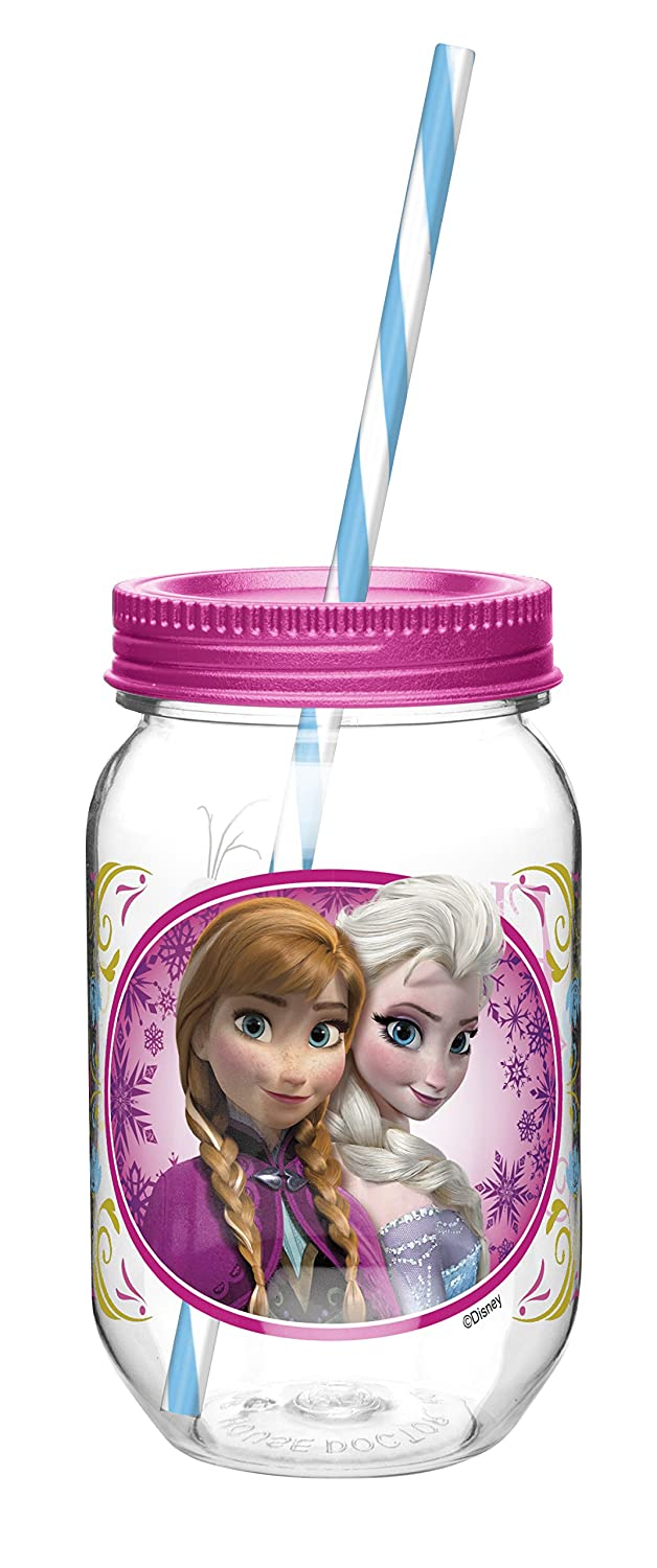 Zak! Designs Tritan Mason Jar Tumbler with Screw-on Lid and Straw featuring Elsa & Anna from Frozen, Break-resistant and BPA-free Plastic, 19 oz. Zak Designs FZND-Q120