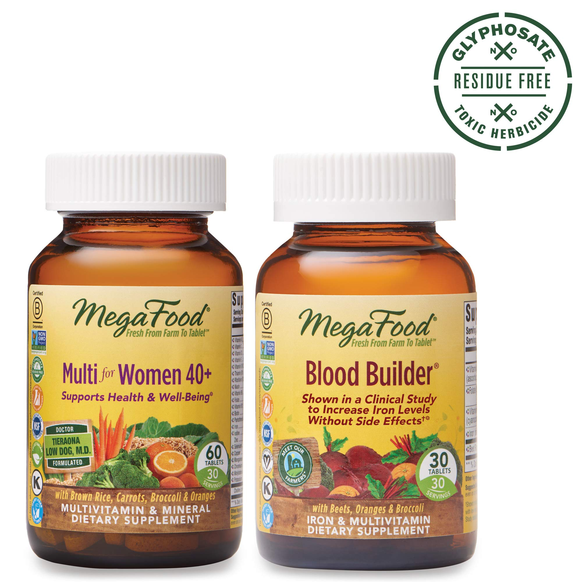 MegaFood, Multi for Women 40+ and Blood Builder Supplement Bundle, Supports Healthy Iron Levels and Well-Being (60 & 30 Tablets) by MegaFood