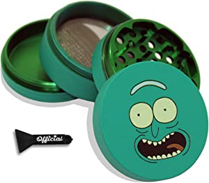 Rick and Morty Herb Grinder - Pickle Rick - SOFT TOUCH Matte Smooth 4 Piece Grinder For Herb & Spice With BONUS Scraper - Rick and Morty Gifts - 2.2 Inches