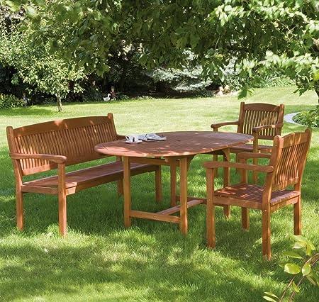 Siena Garden &apos Conjunto de muebles de jardín Nassau, 2 rústico Sillón, 3 de sitzige Banco y mesa extensible de madera de eucalipto: Amazon.es: Hogar