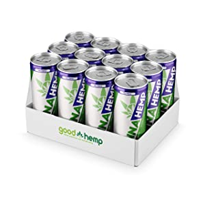 Canna Hemp Infused Energy Drinks - Nootropics Drink Relaxation Beverage for Focused Energy, Stress Relief, & Mood Boost - Vegan Gluten Free & Keto Energy and Sports Drinks - Blueberry - 12 oz, 12 pk