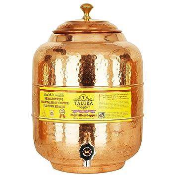 Taluka 1 andmade martillado puro cobre agua Pot Depósito con grifo dispensador de agua de cobre