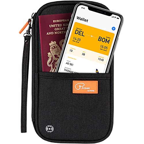 Premium Travel Wallet Organiser with RFID Blocking. Perfect Passport Holder for Women & Men. Made of Nylon & Soft Cotton Blend. Phone Pocket, Space for Plane Ticket, Credit Cards, ID, Papers