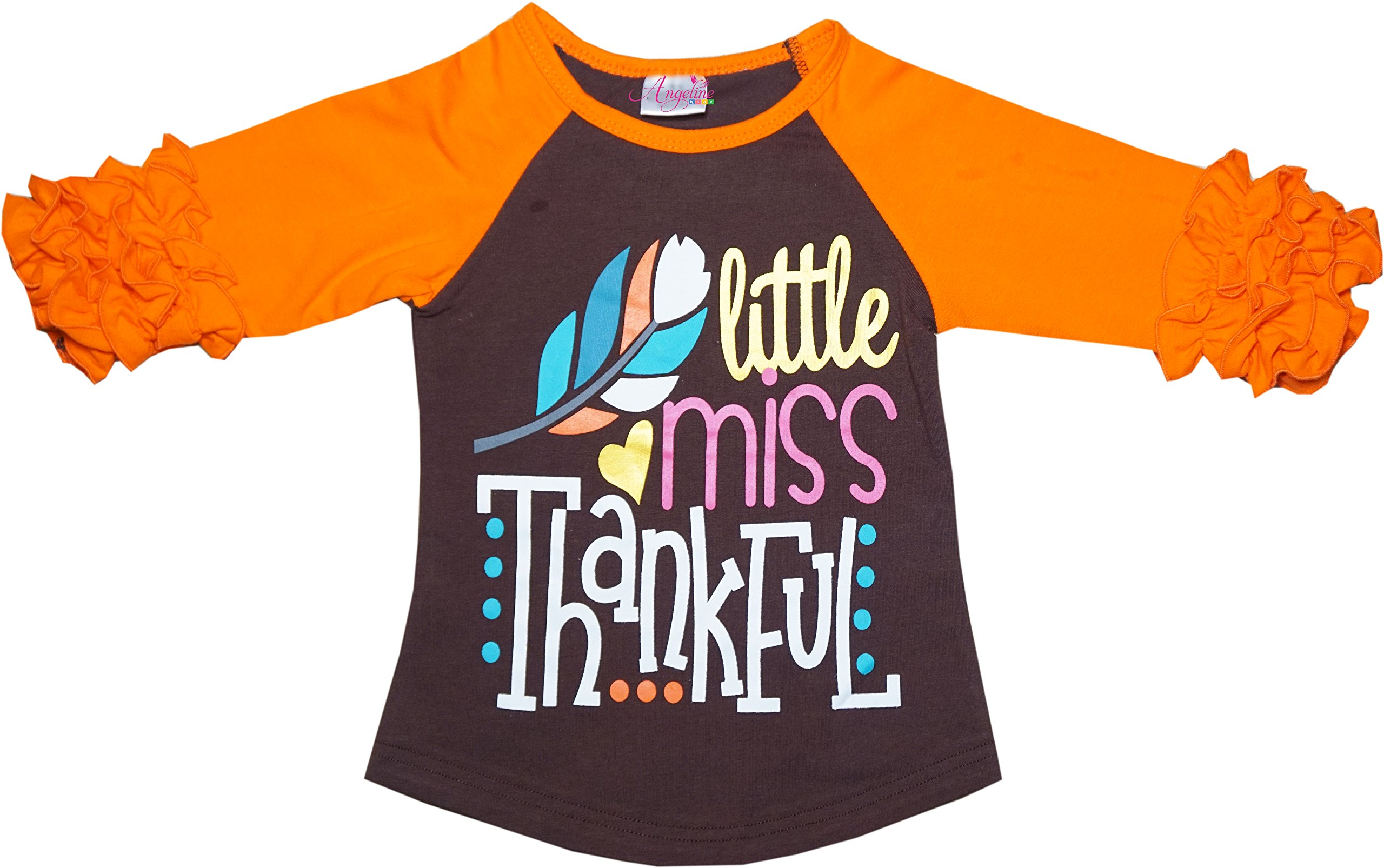 Angeline Boutique Clothing Thanksgiving Little Miss Thankful Ruffles Raglan T-Shirt 6/XL