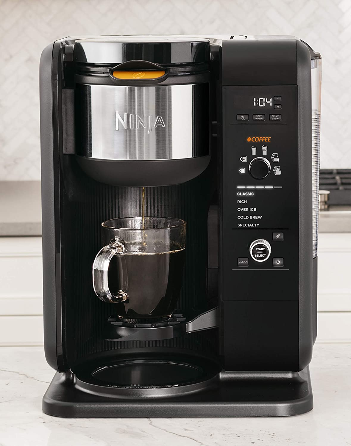 Ninja Hot and Cold Brewed System, Auto-iQ Tea and Coffee Maker with 6 Brew Sizes, 5 Brew Styles, Frother, Coffee & Tea Baskets with Glass Carafe ...
