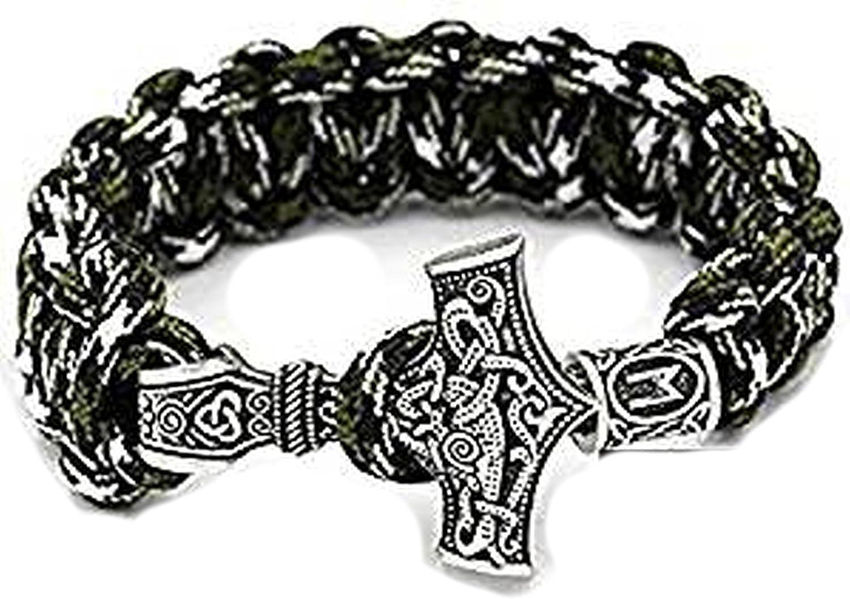 Viking Rune with Thor's Hammer Pendant Military Green Camo Paracord Bracelet 25 cm Long