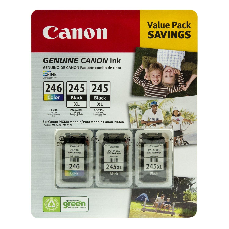 Canon PG-245XL/CL-246 Ink Tank Cartridge, Black/Tri-Color (3 pk)