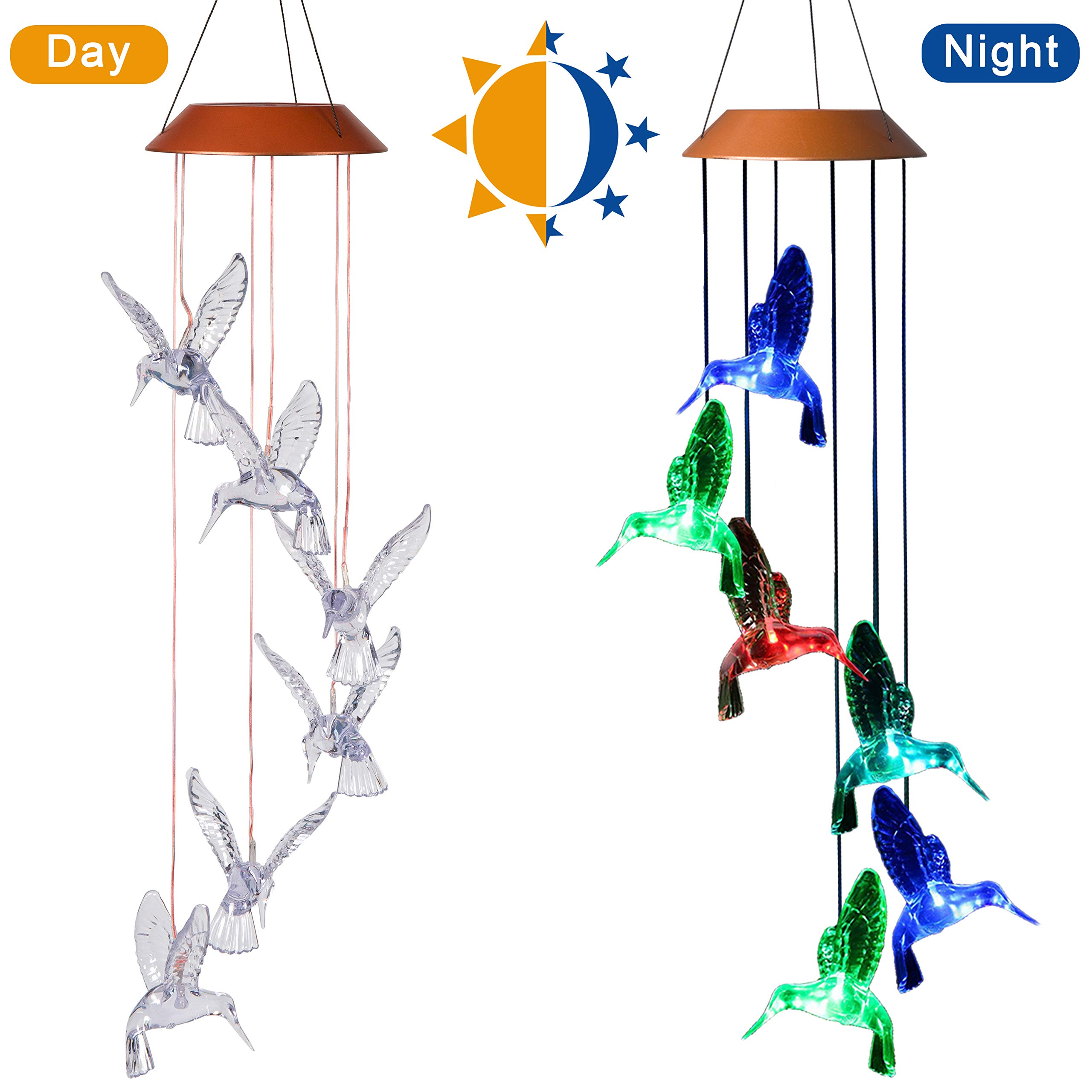 CXFF LED Solar Hummingbird Wind Chimes Outdoor - Waterproof Solar Powered LED Changing Light Color Six Hummingbirds Mobile Romantic Wind-Bell for Home, Party, Festival Decor, Night Garden Decoration