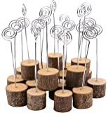 Wooden Base Place Card Holders, Dedoot Rustic Real Wood Base Table Number Holder Party Decoration Card Holders Picture Memo Note Photo Clip Holder, Pack of 20