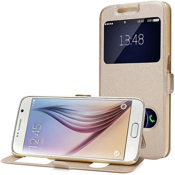 Galaxy S6Window View Case, lune humeur Samsung Galaxy S6Portefeuille Flip Cuir magnétique Coque avec support pour Samsung Galaxy S6G9200Transparent 13cm (Samsung Galaxy S6, Champagne dor&e
