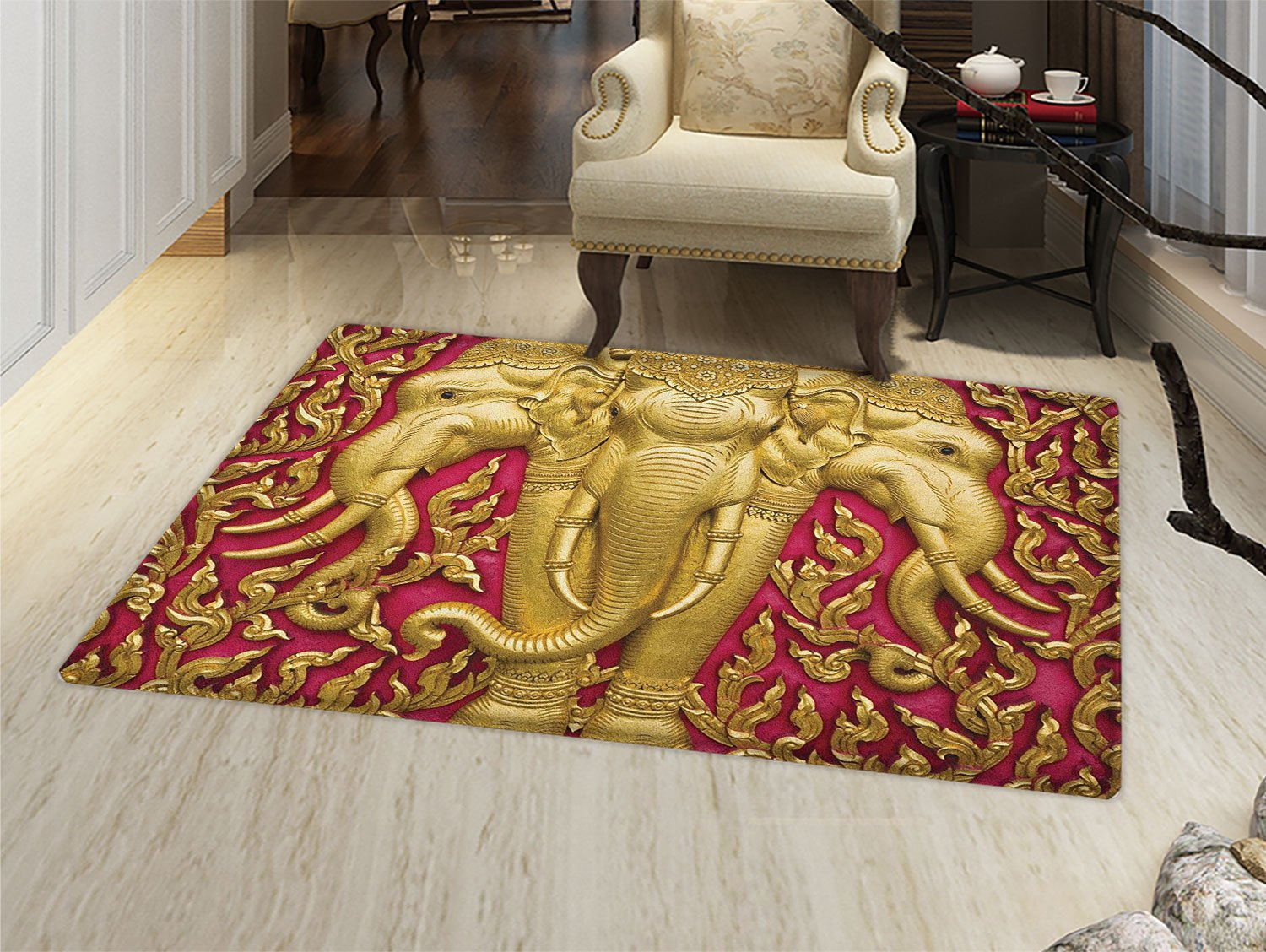 smallbeefly Elephant Door Mat indoors Elephant Carved Gold Paint on Door Thai Temple Spirituality Statue Classic Customize Bath Mat with Non Slip Backing Fuchsia Mustard