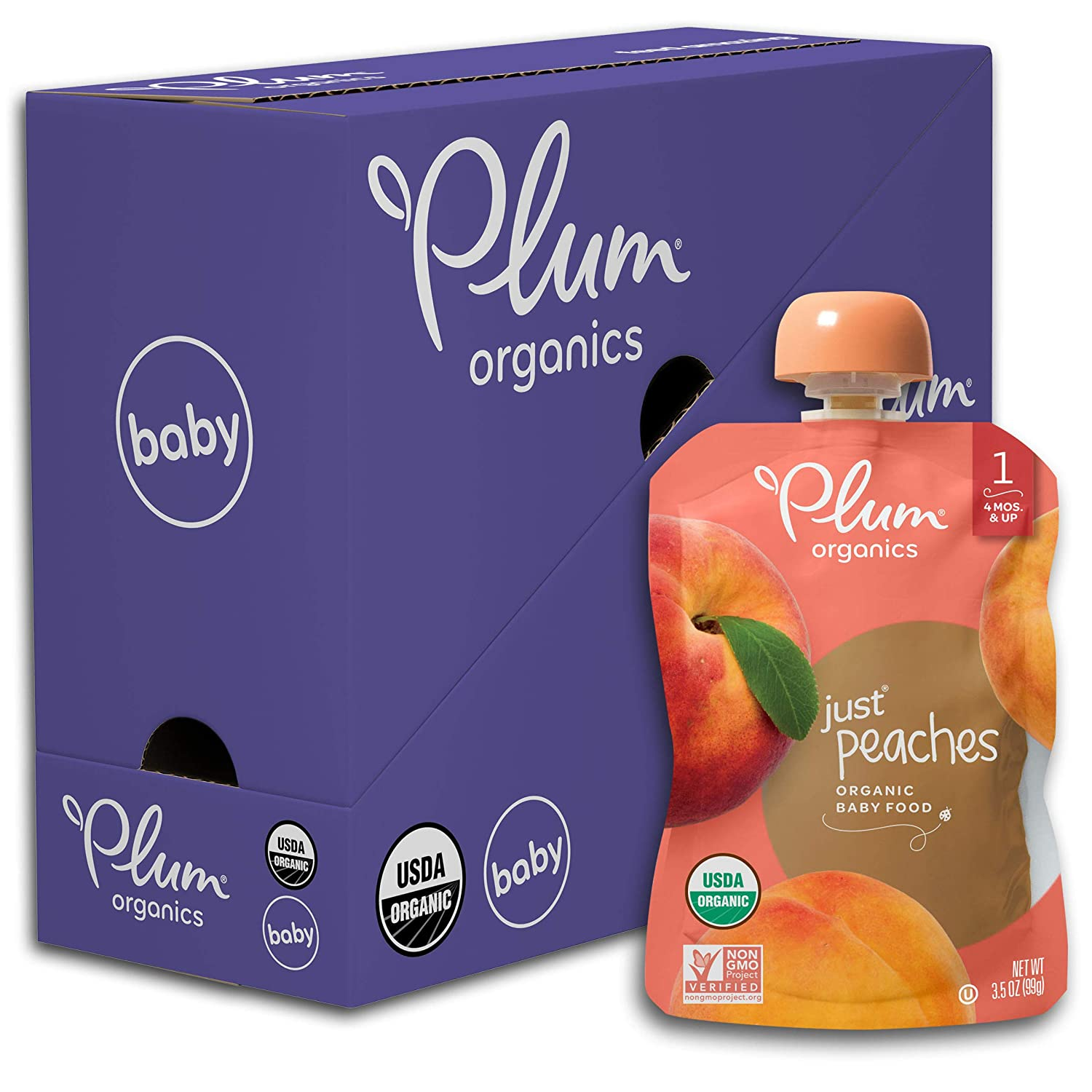 Plum Organics Stage 1 Organic Baby Food, Peach Puree, 3.5 Ounce Pouch (Pack of 6)