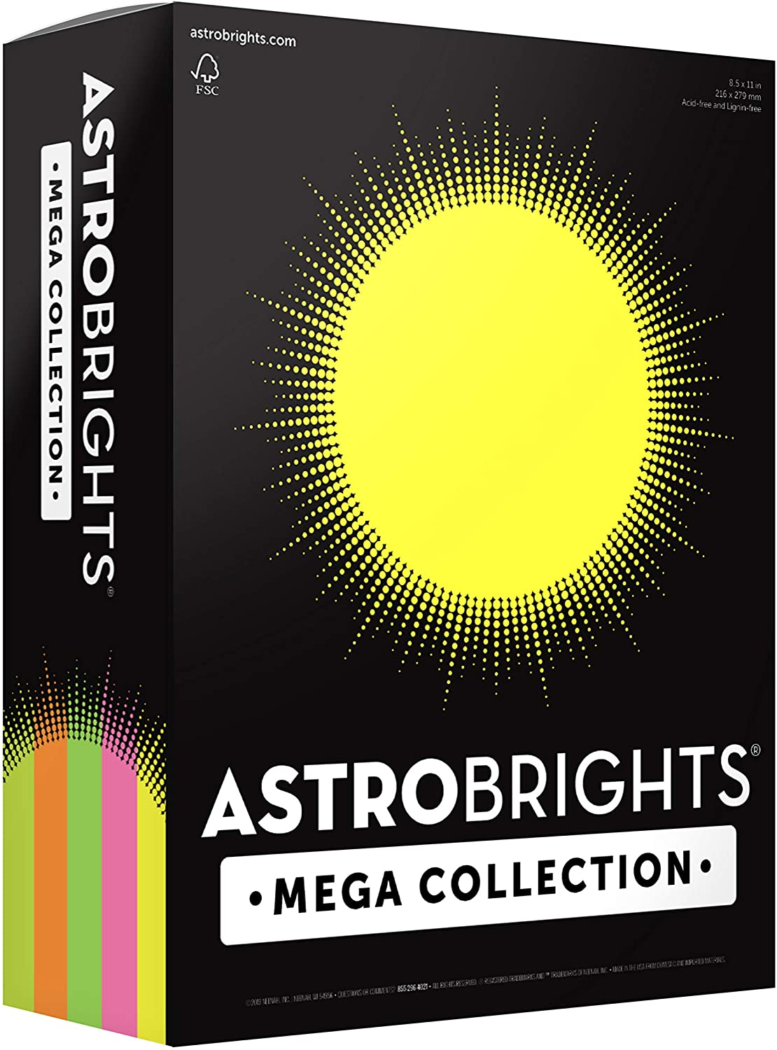 """Astrobrights Mega Collection, Colored Paper, """"Flourescent"""" 5-Color Assortment, 625 Sheets, 24 lb/89 gsm, 8.5"""" x 11"""" - MORE SHEETS! (91700), Assorted : Office Products"""