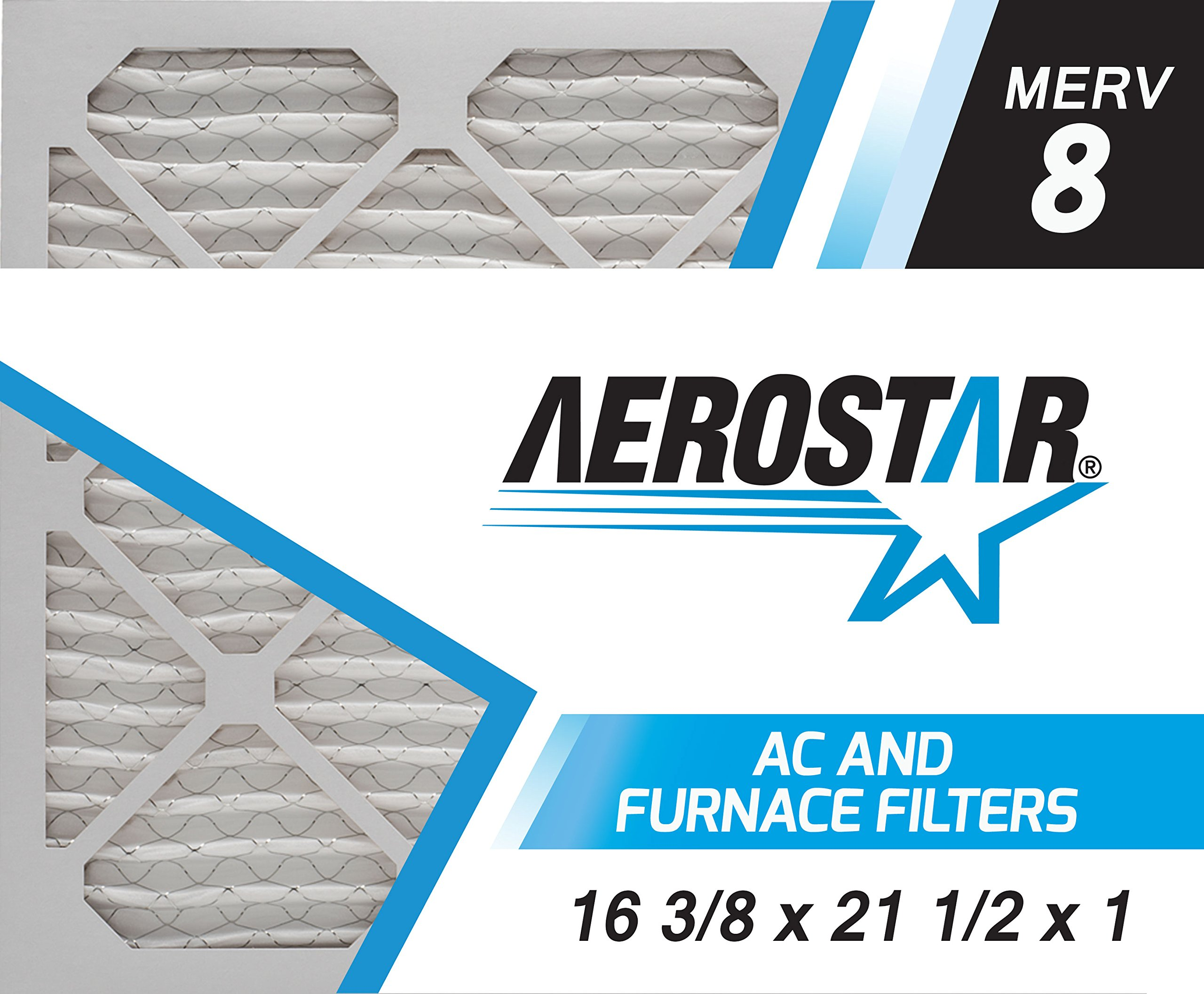 Aerostar 16 3/8x21 1/2x1 MERV 8 Pleated Air Filter, Made in the USA, 6-Pack