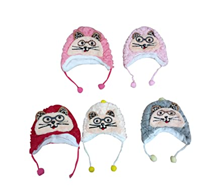 2adbedb3c44 Merchant eShop Baby Boy s and Girl s Winter Woolen Fleece Cat Face Specks  Caps (Navy Blue
