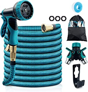 "COOLWUFAN 50ft Expandable Garden Hose, 9-Function High Pressure Water Spray Nozzle with 3/4"" Solid Brass Fittings/ 2-Way Pocket Flexible Splitter, Expanding Hose for Garden Lawn Car Pet Washing"
