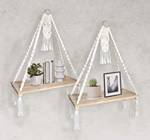 Macrame Wall Hanging Shelf -Set of 2 Macrame Shelf Decor Wood Hanging Boho Shelves Bohemian Floating Plant Shelf Handmade