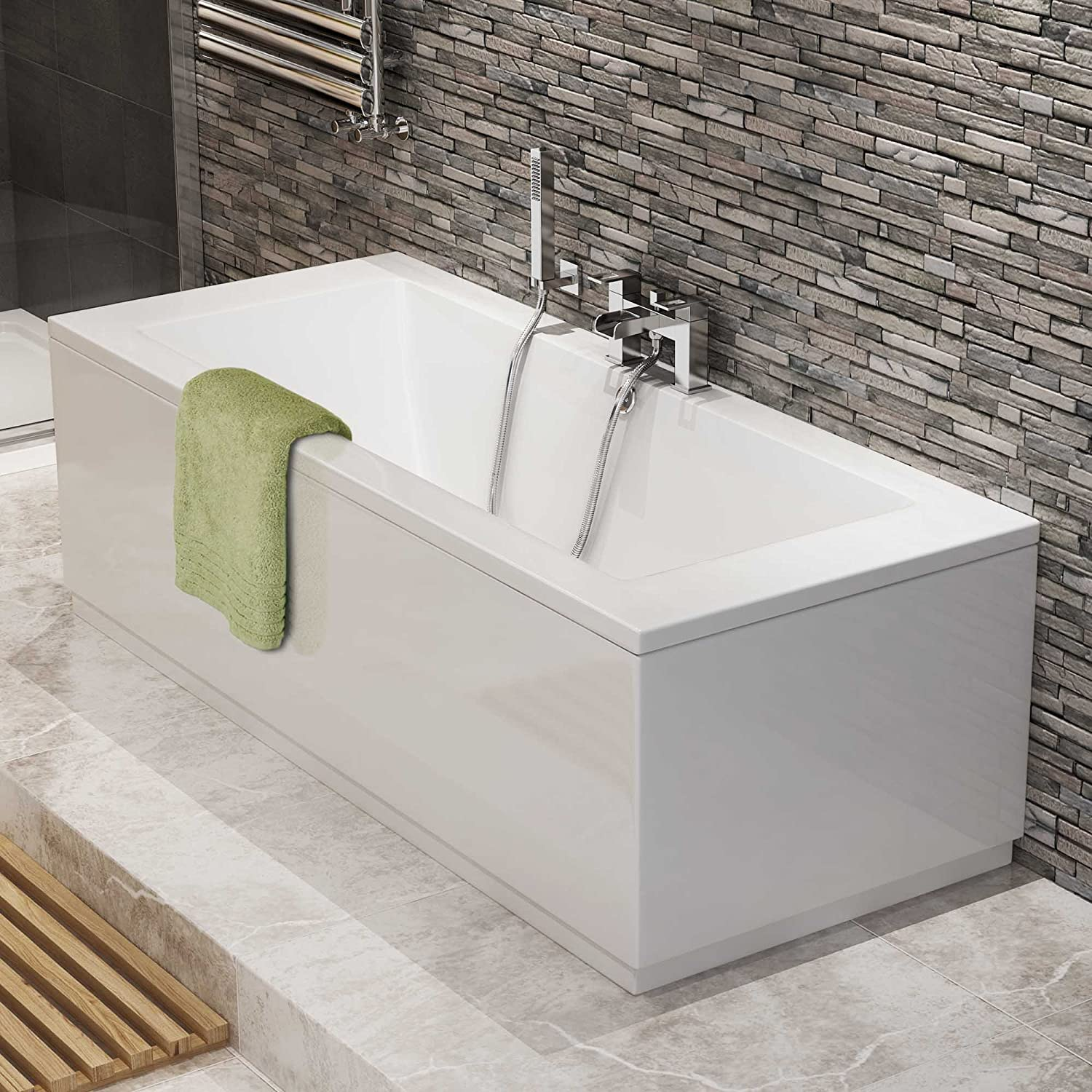1700 Mm Luxury Square Double Ended Bath Modern Straight White Bathroom  Bathtub: IBathUK: Amazon.co.uk: Kitchen U0026 Home