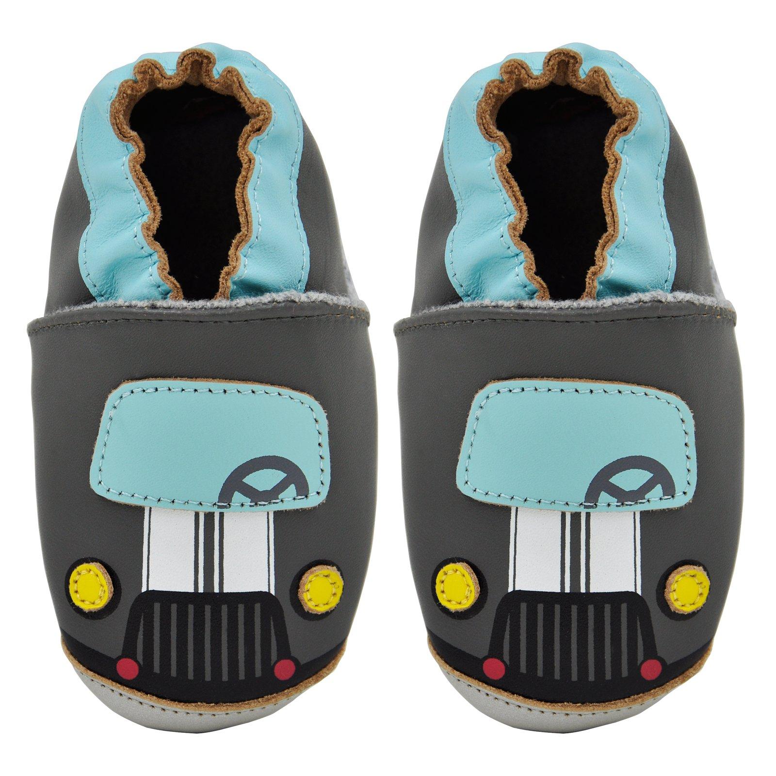 Kimi + Kai Baby Boys Lambskin Leather Soft Sole Shoes - Car (12-18 Months) Grey by Kimi & Kai