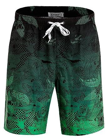 05306f1042c1f APTRO Men's Swim Trunks with Pockets Quick Dry 4 Way Stretch Beach Board  Shorts HW023 Green