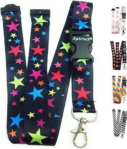Correa de cuello para el teléfono SpiriuS, cordón con gancho de seguridad a la moda para el móvil, las llaves, tarjetas de identificación, color rainbow stars: Amazon.es: Oficina y papelería