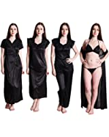 Senslife Women's Satin Solid Nightwear 6pc Set of Nighty Wrap Gown Top Pajama Bra & Thong Set SL001