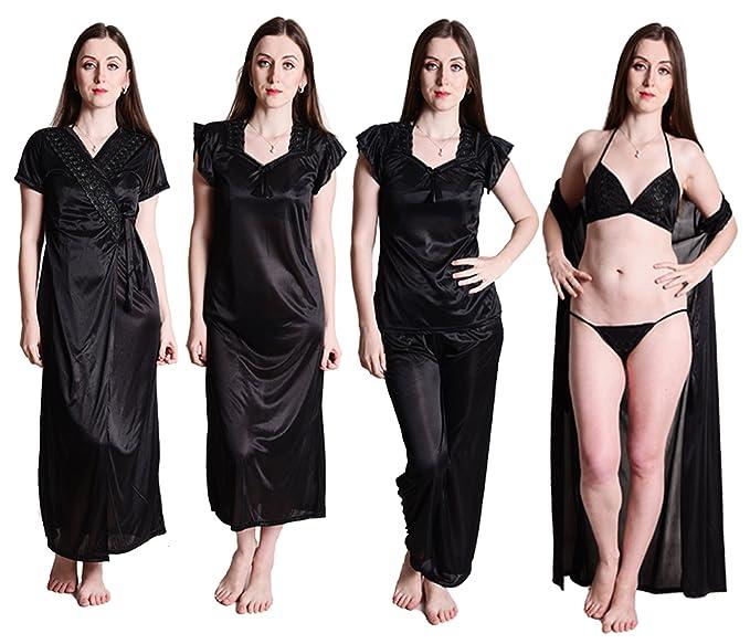 Senslife Women s Satin Solid Nightwear 6pc Set of Nighty Wrap Gown ... db6b97ae5