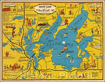Amazon.com: Historic Map - Cartomap Leech Lake Minnesota ... on longville mn area map, chippewa national forest map, moosehead lake map, south center lake map, devils lake nd fishing map, minnesota map, lake of the woods map, stump lake nd lake map, gardner lake map, powderhorn lake map, woman lake map, nelson lake map, lake ida map, perry lake map, devils lake nd topographic map, walker mn map, parker lake map, big bear lake topographic map, big marine lake map, white earth reservation boundaries map,