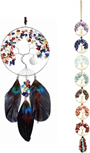 CrystalTears 7 Chakra Crystal Dream Catcher Hanging Ornament Bundle with Chakra Tree of Life Wall Hanging Ornament for Home Car Decoration(2 Items)