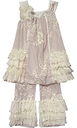 e26a31fbfe9d6 Isobella   Chloe Baby Girls  Taupe Crème Brulee Embroidered Capri 2-pc  Outfit