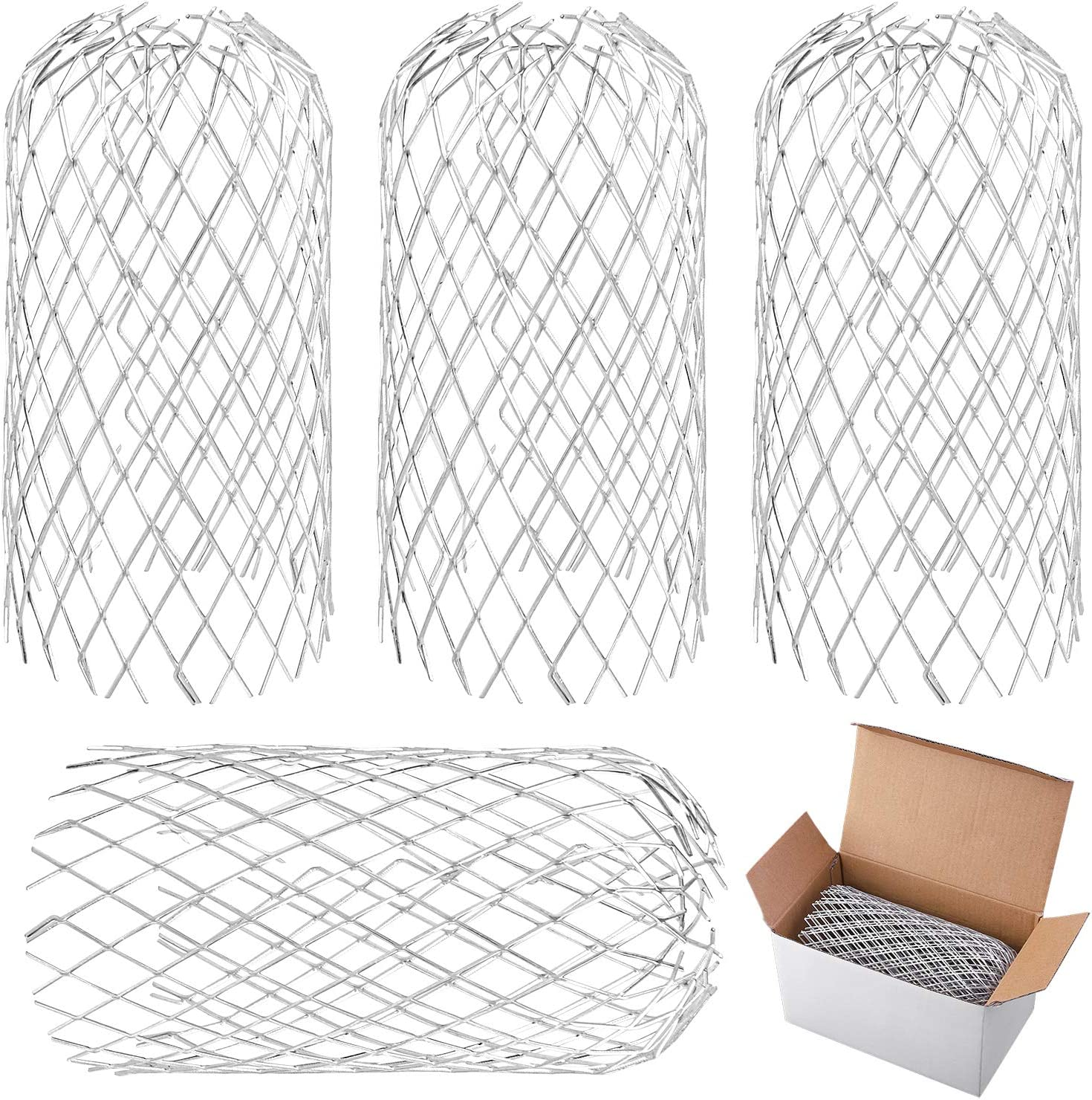 Downpipe URATOT 4 Pack Aluminum Gutter Guards Expandable Filter Strainer Leaf Strainer Gutter Sieve Metal Downpipe Protection Guards for Gutter